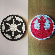 Star Wars Rebel Alliance and Galactic Empire logos hama beads by beadgeekcreations