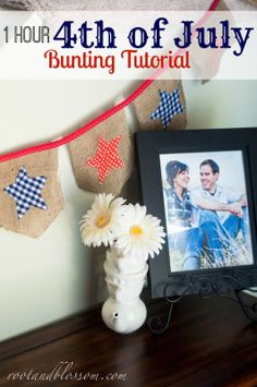 Rootandblossom: 1 Hour of July Bunting Tutorial ~Melisa Bunting Tutorial, Independence Day, 4th Of July, Diy Projects, Frame, Decor, Decoration, Diwali, Decorating