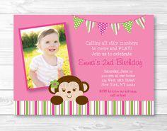 Diy girl mod monkey birthday party invitation 2 coordinating cute girl monkey birthday invitation monkey birthday invite mod monkey party pink green monkey printable any age filmwisefo Choice Image