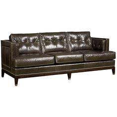 """Manchester 88"""" Sofa Stone Leather Sofas & Loveseats ($2,899) ❤ liked on Polyvore featuring home, furniture, sofas, nailhead leather sofa, nail head leather sofa, leather furniture, leather loveseat and leather couch"""