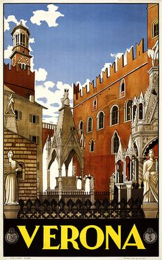 Mixed Media - Verona, Italy - Building And Monuments - Retro Travel Poster - Vintage Poster by Studio Grafiikka , Vintage Italian Posters, Vintage Travel Posters, Italy Vacation, Italy Travel, Spain Travel, Italy Tourism, Travel Europe, Places To Travel, Travel Destinations
