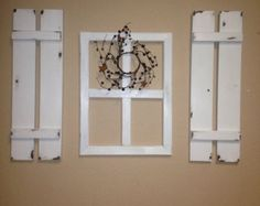 Set of 2 Cute decorative shutters for home decor counry