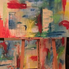 Abstract triptych in tropical colors Tropical Colors, Triptych, My Arts, Ocean, Abstract, Canvas, Painting, Summary, Tela
