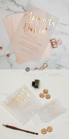 Foil wedding invitation suite with a romantic script captures your personality in this classic composition. Shown in gold foil but can be personalized in rose gold or silver foil.