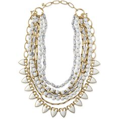 Stella & Dot Sutton Necklace - White Stone ($178) ❤ liked on Polyvore featuring jewelry, necklaces, accessories, collares, cross necklace, stone jewellery, pandora jewelry, strand necklace and layered necklace
