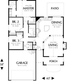 Main Floor Plan of Mascord Plan - The Cypress - Warm Open Cottage Plan Craftsman Style House Plans, Ranch House Plans, House Floor Plans, Craftsman Houses, Cottage House Plans, Small House Plans, Cottage Homes, Cottage Style Houses, Prefabricated Houses
