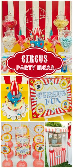 A circus themed boy birthday party with cupcakes, cookies, cake pops, popcorn and cotton candy!  See more party planning ideas at CatchMyParty.com!