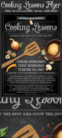 Cooking Lessons Flyer Template v2 is a modern and attractive psd template design suitable for any cooking workshops, exhibitions or any other related to cocking events.  1 PSD file – A5 (15×21cm) including 3mm bleed and guides  All Elements Included  CMYK – Print ready – 300 DPI  Easy named layers for better editing