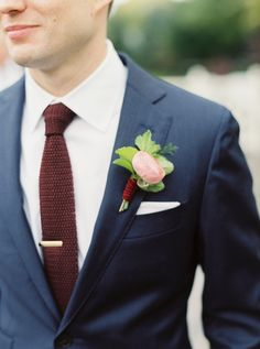 From: Style Me Pretty Photography: Kate Ignatowski Boutonniere, button hole for a peach and burgundy colour wedding palette.