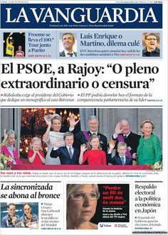 Los Titulares y Portadas de Noticias Destacadas Españolas del 22 de Julio de 2013 del Diario La Vanguardia ¿Que le pareció esta Portada de este Diario Español?