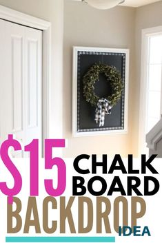 A large DIY Chalkboard is perfect as a backdrop for any seasonal decor. So functional and fun to have, every home should have at least one. Picture Frame Chalkboard, Chalkboard Pictures, Black Chalkboard Paint, Diy Chalkboard, Diy Home Decor Projects, Diy Home Crafts, Diy Furniture Plans, Furniture Makeover, Christmas Chalkboard