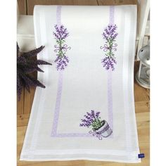 Potted Lavender Table Runner Stamped Cross Stitch Kit - Cross Stitch, Needlepoint, Embroidery Kits – Tools and Supplies