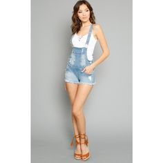 American Bazi Distress Denim Short Overalls ($35) ❤ liked on Polyvore featuring jumpsuits, rompers, lt destroyed, distressed overalls, shorts overalls, bib overalls and short overalls
