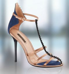 Louis Vuitton Blue High Heeled Sandal with Crystalized T-Bar Spring Summer 2011 #LV #Shoes #Heels