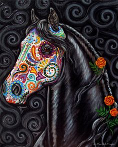 Day of the Dead Horse Art PRINT Sugar Skull by gypsymarestudios Love this! Could be an alternative to a lady sugar skull Los Muertos Tattoo, Sugar Skull Art, Sugar Skulls, Day Of The Dead Art, Equine Art, Horse Art, Horse Skull, Amazing Art, Awesome