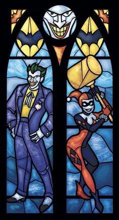 Harley & Joker stainglass art