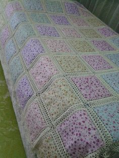 Love this sweet idea for patchwork and lace tablecloth. Crochet and fabric quilt – Artofit This Pin was discovered by She Crochet Bedspread Pattern, Crochet Fabric, Crochet Blanket Patterns, Baby Blanket Crochet, Quilt Patterns, Crochet Blocks, Crochet Squares, Crochet Cushion Cover, Diy Crafts Crochet