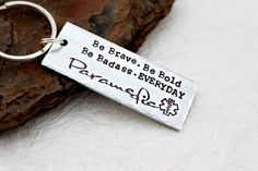 Paramedic Keychain EMT Keychain Paramedic by SweetAspenJewels Ems Week, Paramedic Gifts, Little Bit Of Love, Band Aid, Love My Job, Perfect Christmas Gifts, Metal Stamping, Tattoo Inspiration, Hand Stamped