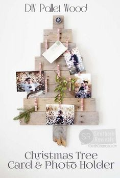 Adorable way to display Christmas cards: DIY Pallet Wood Christmas Tree Photo & Card Holder /Remodelaholic/