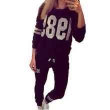 2016 nova outono mulheres camisola Hoodies 1985 fatos de treino impressos terno esporte Causal O pescoço pulôver + Pant correr Set roupas