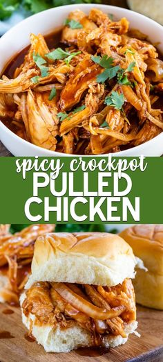 Crockpot Spicy Pulled Chicken Make an easy dinner in the slow cooker! Crockpot Spicy Pulled Chicken has just 5 ingredients and is great alone or made into pulled chicken sandwiches! Pulled Chicken Recipes, Pulled Chicken Sandwiches, Crockpot Recipes For Chicken, Sandwiches For Dinner, Chicken Sandwich Recipes, Healthy Chicken, Chicken Salad, Healthy Food, Spicy Recipes