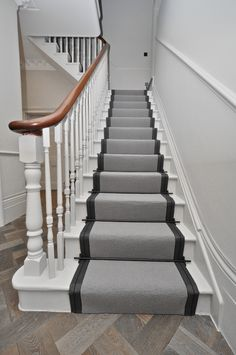 Wool Stair Runners Bowloom wool carpet, bound with Stripe T - colour 1 binding tape & Atlantic - Austin Black stair rods. Black Painted Stairs, Black Stairs, Stairway Carpet, Victorian Hallway, Painted Staircases, Spiral Staircases, Tiny House Stairs, Traditional Staircase, Hallway Inspiration