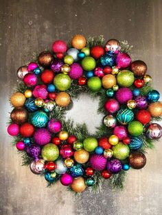 I have had the same Christmas wreath for five years now and I have wanted to change it the past two years. I decorate Christmas trees (as a side job) and I have a ton of left over ornaments that just sit in a bin in case I need them. I finally decided to do something about it! This is not an original idea but it definitely turned out so fun that I wanted to share. Christmas Ornament Wreath, Christmas Swags, Holiday Wreaths, Christmas Angels, Christmas Tree Decorations, Outdoor Christmas, Christmas Crafts, Pottery Barn Christmas, Wreath Tutorial