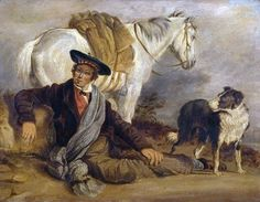 Painting of Scotsman with a Collie and horse, by Richard Ansdell 1800s.