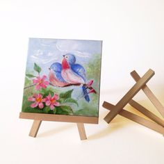 """""""Birds . Spring. Flowers . Original Art"""" 10x10 inch. ACRYLIC,PAINTING. Original Oil Painting Singed by Artist-Salome Mikaberidze Materials: Canvas Panel. Oil.  Size: 10X10 Include mini Easel Set. Published via ArtLoupe. #LANDSCAPE #MODERN #WILDLIFE #OIL #ART"""