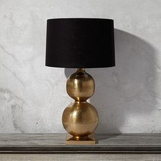 "Orissa Double Table Lamp With Black Shade; 18"" DIAMETER X 32"" H; $399.00"