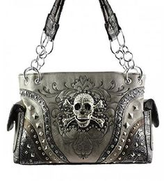 Pewter Skull Studded Conceal and Carry Purse  #HBM #Hobo