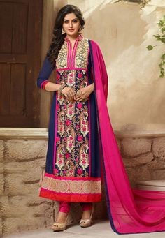 Embroidered Georgette Straight Cut Suit in Navy Blue