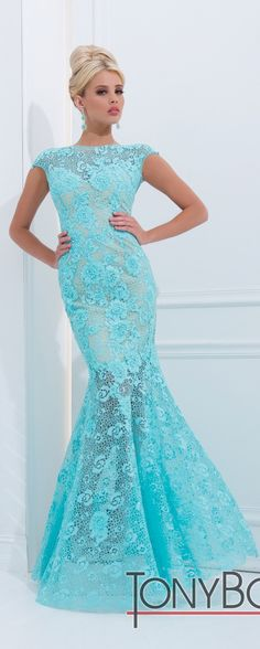 Tony Bowls Aqua #Prom #Gown