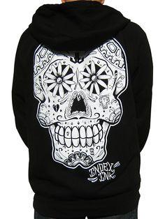 """Men's """"Sugar Gang"""" Zip Hoodie by Index Ink (Black) #inkedshop  #sugarskull #hoodie #zipup"""