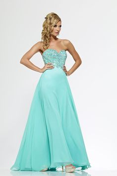 2014 Jeweled Bodice Sweetheart A Line Prom Gowns Chiffon Mint CAD 162.86 TSPP5S1R1D4 - StylishPromDress.com