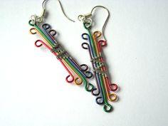 Statement rainbow earrings by URKJewelry on Etsy