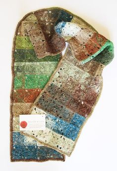 SCARF Celtic Squares design, hand crocheted scarf in Noro yarn's unique tones of blue, sage, brown and white