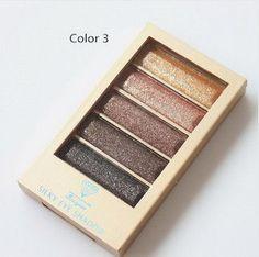 5 Color Waterproof Eyeshadow Makeup Eye Shadow Palette,Super Flash Diamond Eyeshadow High Quality With Brush