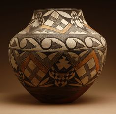 Lot# 1105 A Native American Acoma pottery olla-form jar 12'' H x 12.5'' Dia., est: $1000/2000 *Price Realized: $3,737.50