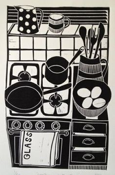in love with kitchen, pottery, in love with linocut! cooking with eggs lino print © jan brewerton Poster Art, Linoprint, Illustrator, Arte Popular, Wood Engraving, Linocut Prints, Printmaking, Graphic Art, Screen Printing