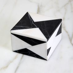 ORIGAMI BOX by Kelly Wearstler, calacatta and negro marquina marble Bath Accessories, Decorative Accessories, Wooden Box Designs, Marble Bath, Black And White Love, Origami Box, Colorful Artwork, Kelly Wearstler, Stone Island