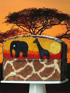 Sunset over Africa - by Terry @ CakesDecor.com - cake decorating website