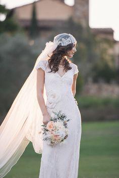 Spitze Hochzeitskleider 2014 mit Schleier im Vintage Stil Inspiration für die 20er Jahre Vintage Hochzeit