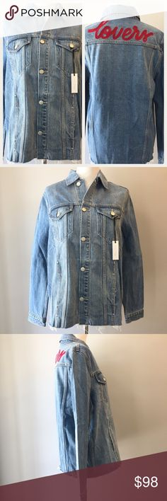 """Lovers + Friends Denim Jacket James Embroidered """"Lovers"""" Jacket from Lovers + Friends. Frayed bottom hem. Slit pockets at hip. 100% cotton. Silver tone logo hardware. Quality jacket with a flattering fit. NWT Lovers + Friends Jackets & Coats Jean Jackets"""