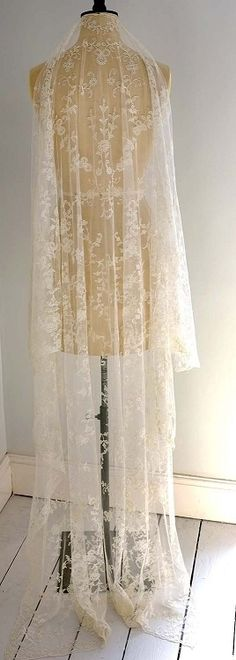 Stunning Antique French Tambour Lace Bridal Wedding Veil available at www.chantillydreams.com