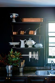 Green Kitchen Wall with Dark Cabinet. Green Kitchen Wall with Dark Cabinet. Deep Dark Green Cabinets and Walls original Wooden Green Kitchen Walls, Dark Green Kitchen, Dark Green Walls, Dark Walls, Country Kitchen Designs, Farmhouse Style Kitchen, Black Kitchens, Home Kitchens, Kitchen Styling
