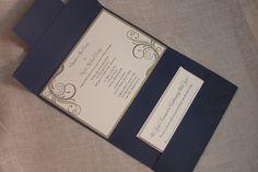 Navy and silver wedding invite  @Emily Schoenfeld Schoenfeld Wood