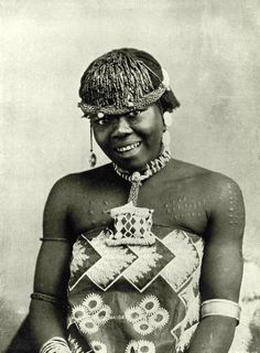 "Africa | 'A Zulu Maiden' South Africa. ca. 1899 | Image and caption from  ""Picturesque South Africa""; Published by Dennis Edwards & Co., Cape town."