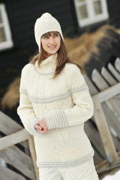 1011: Modell 14 Genser og lue #strikk #knit #fjells Pullover, One Color, Winter Hats, Turtle Neck, Knitting, Sweaters, Dresses, Fashion, Breien