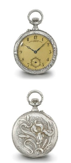 Patek Philippe. A fine and unusual openface keyless lever watch with custom-made Art Nouveau silver repoussé case signed by Frainier  Signed Patek Philippe & Co., Genève, movement no. 143'790, circa 1906